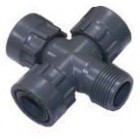 "1"" FxFxFxM PVC cross with O-RING anti-leak seal"