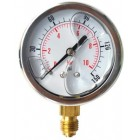 "Pressure gauge radial connection 1/4"" scale ranges 0 - 6/10/16 in stainless steel with glicerine"